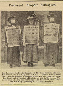 Prominent Newport Suffragists photo from newspaper